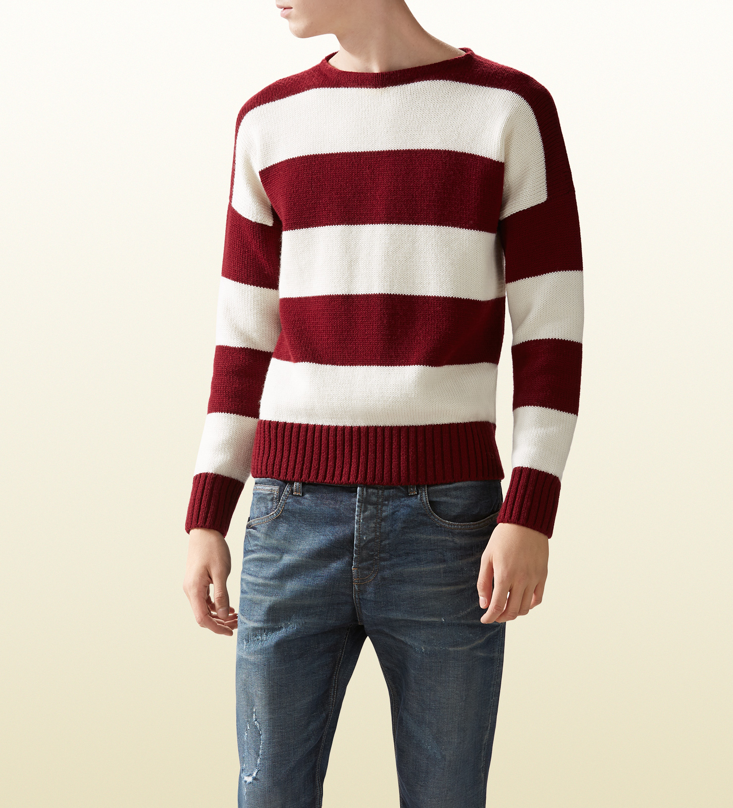 Gucci Striped Wool Cotton Sweater in Red for Men | Lyst
