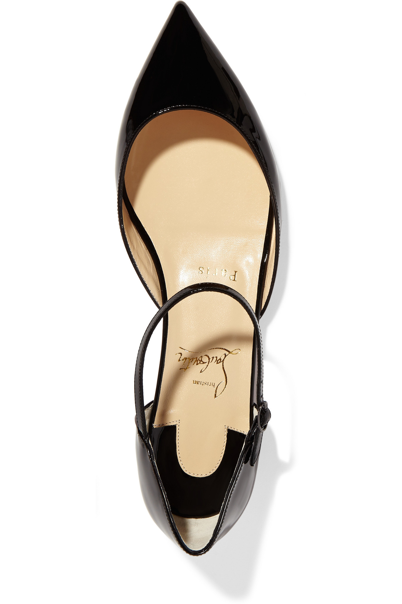 Christian louboutin Riverina Patent-leather Point-toe Flats in ...
