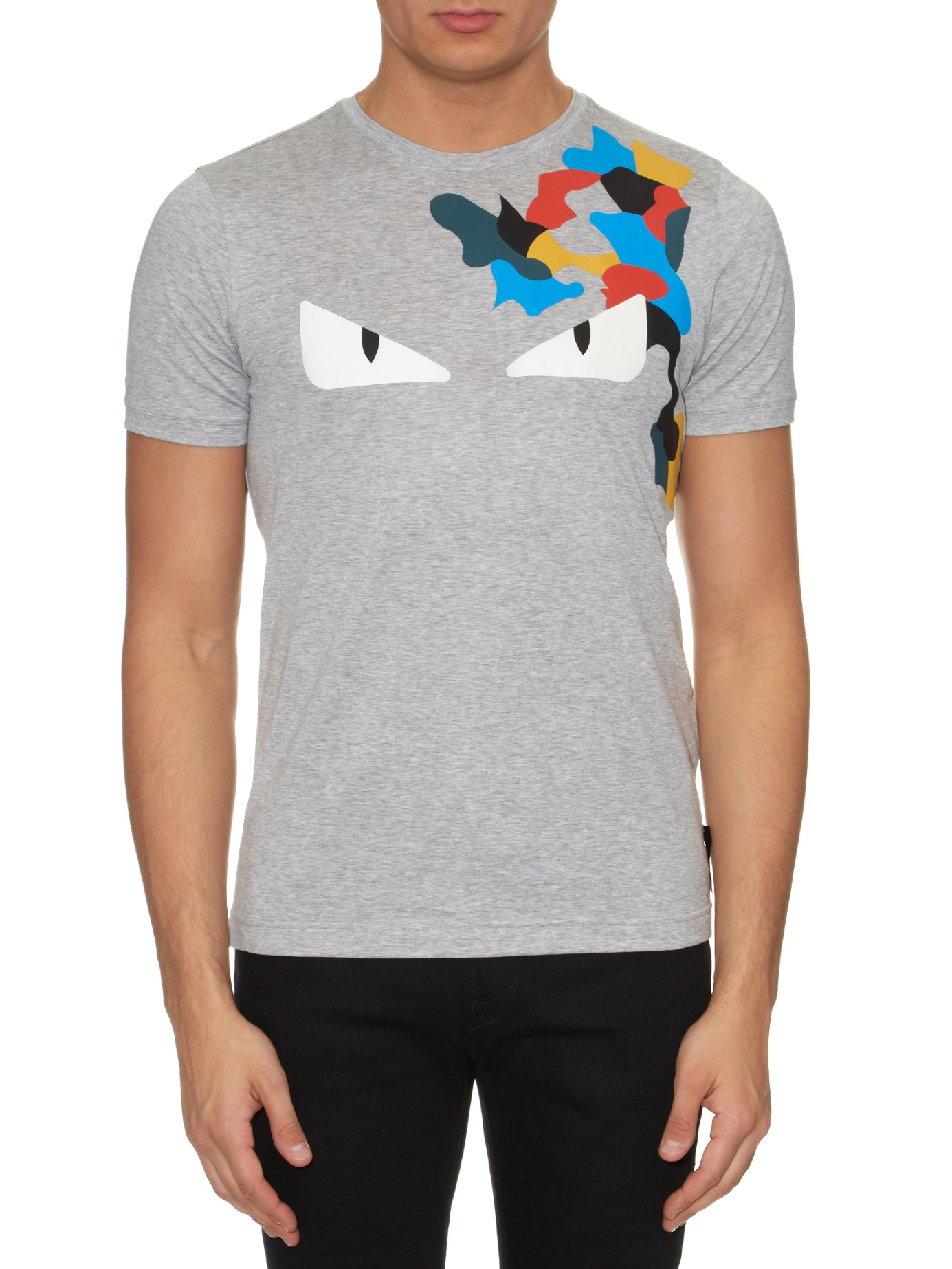 a017a2ebc72 canada lyst fendi bag bugs and flecked print t shirt in gray for men 4c949  61050