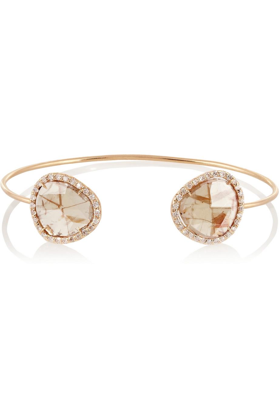 Kimberly McDonald Rose Gold Geode And Diamond Cuff LVAHExzsp