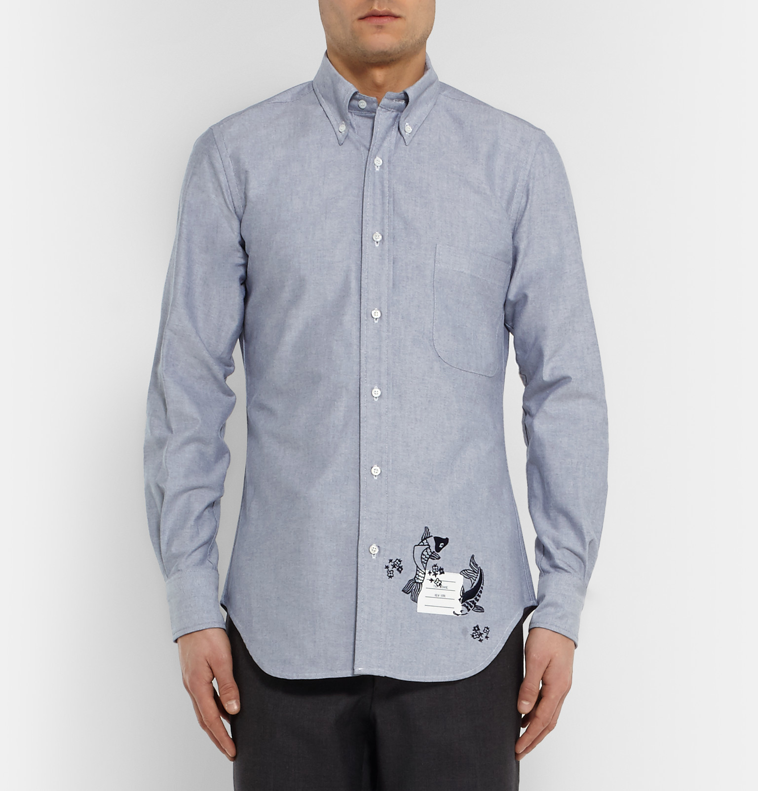 Thom browne embroidered fish shirt in blue for men lyst