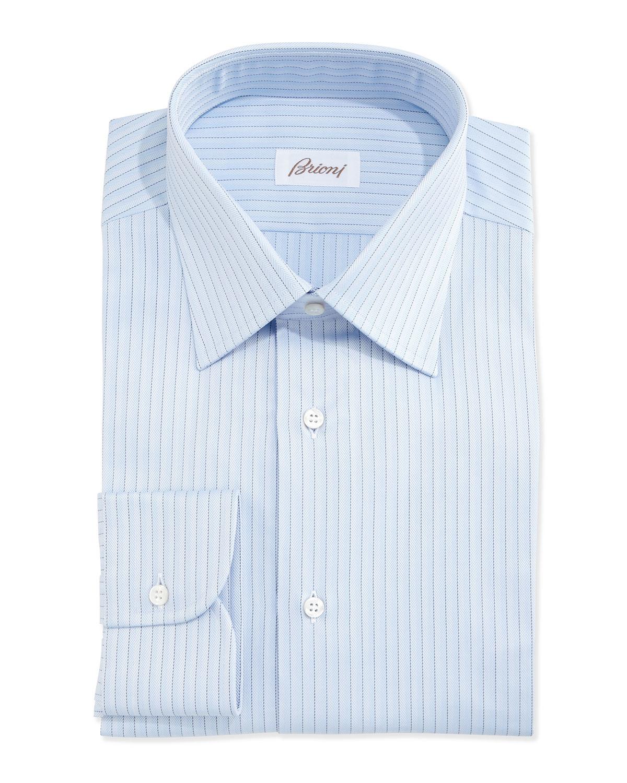 Brioni Herringbone Pinstripe Woven Dress Shirt In Blue For