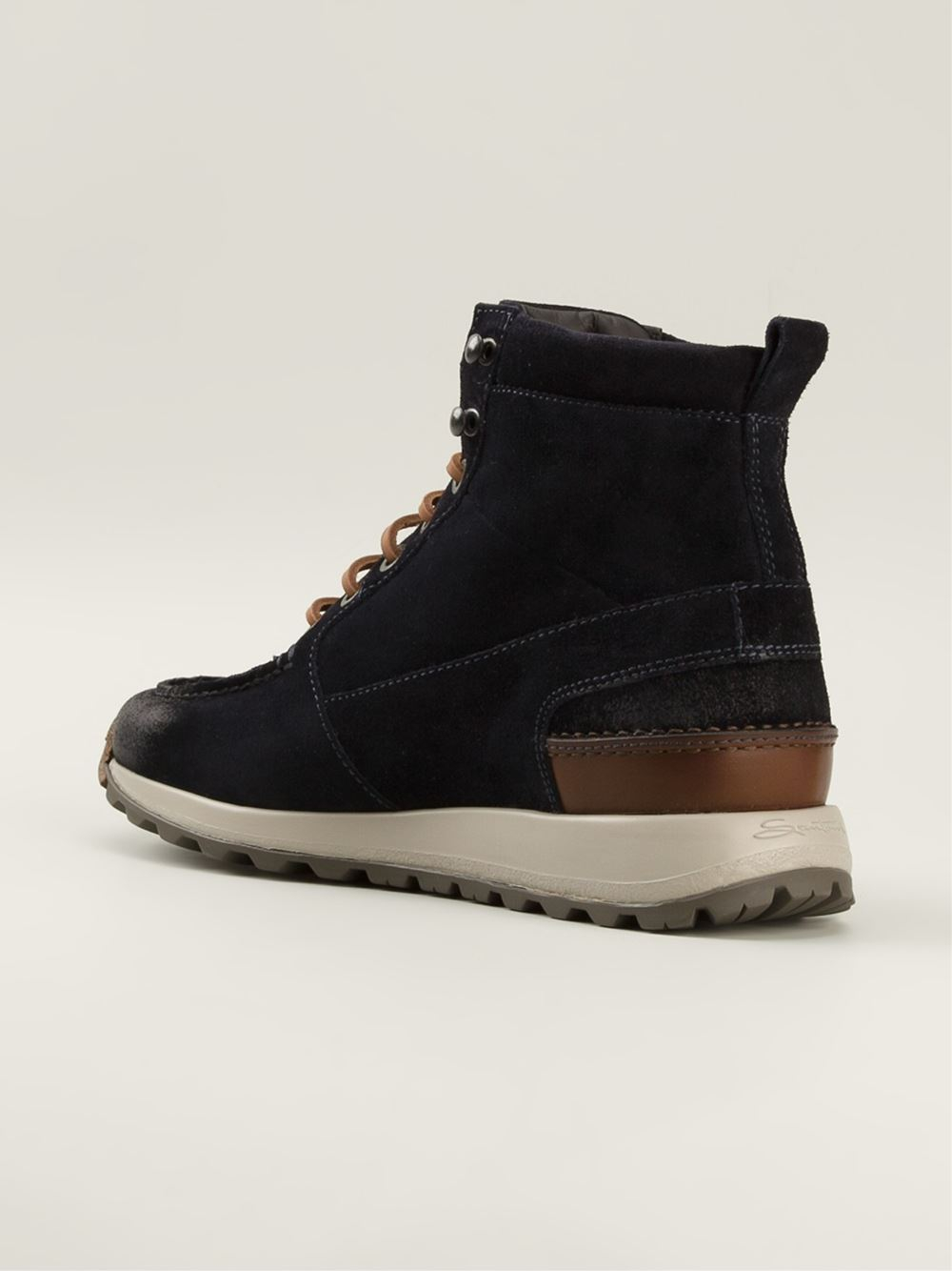 Santoni Ankle Lace Up Boots In Blue For Men Lyst