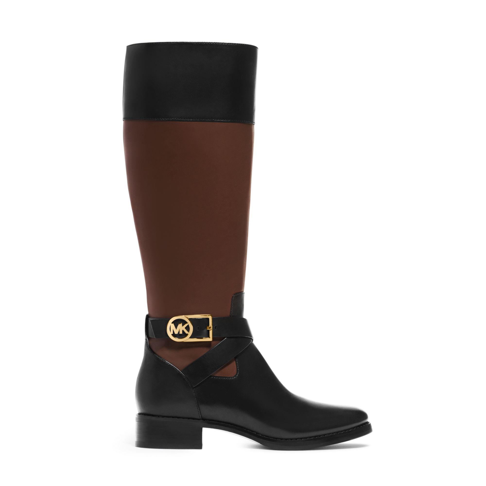 michael kors bryce leather boot in black black mocha lyst