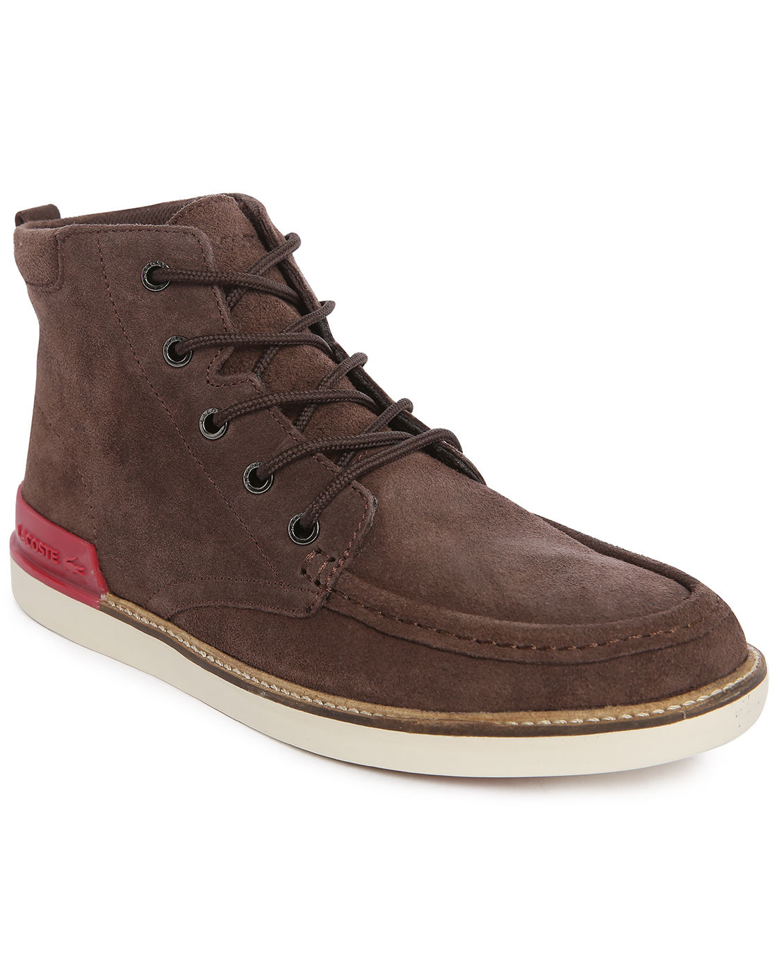 lacoste zinder srm brown suede boots in brown for lyst