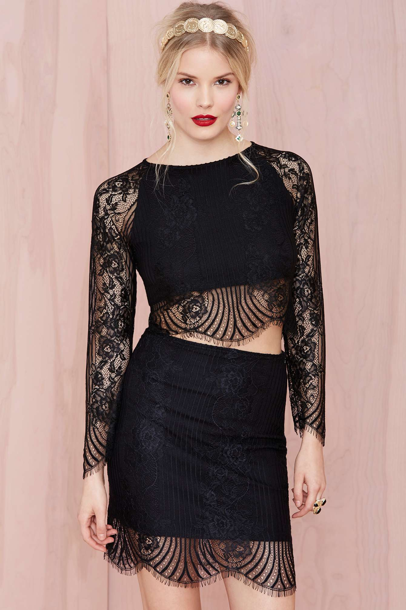 2b7cce344fe Nasty Gal For Love And Lemons Lolo Lace Crop Top in Black - Lyst