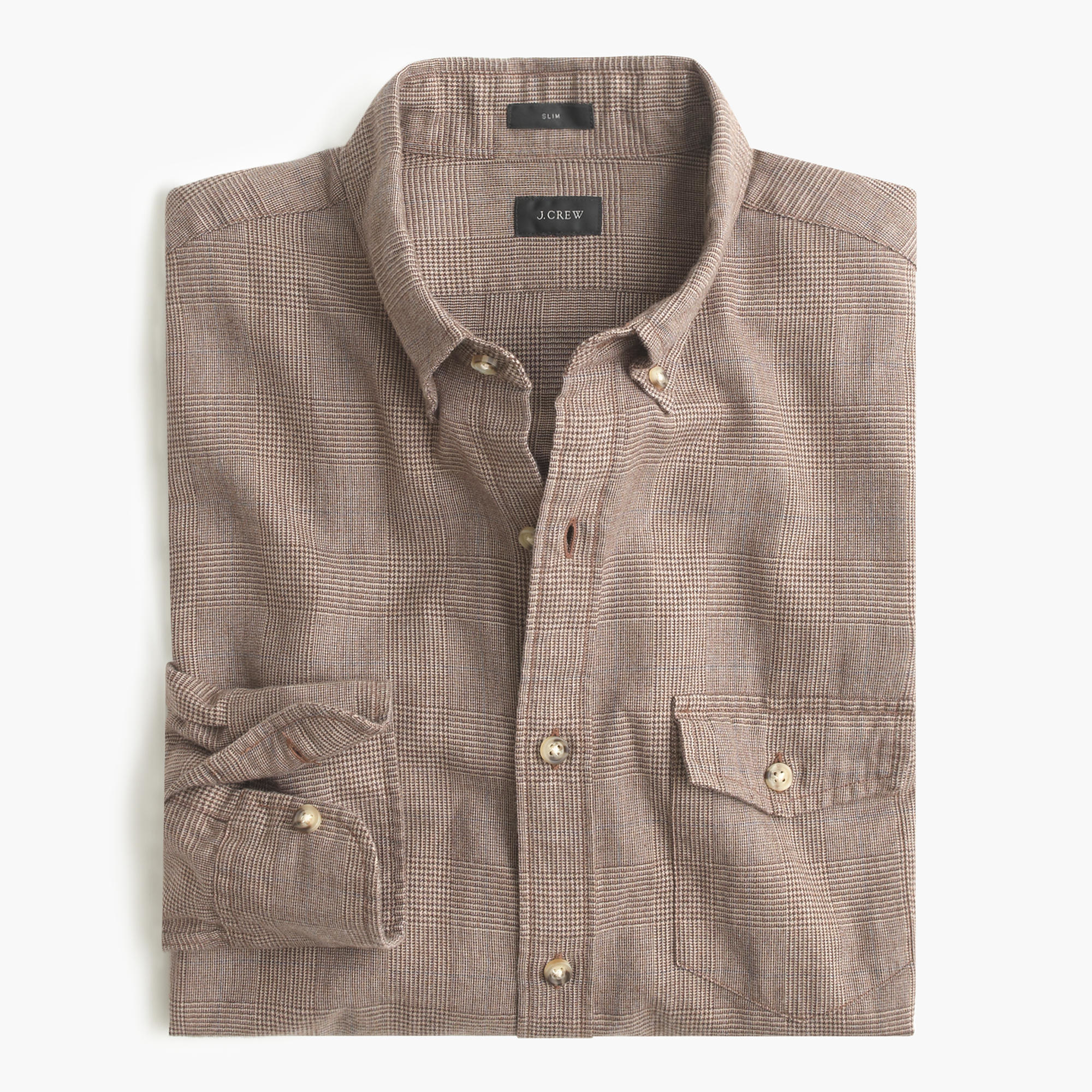 Slim brushed twill shirt in heather harvest glen for Brushed cotton twill shirt