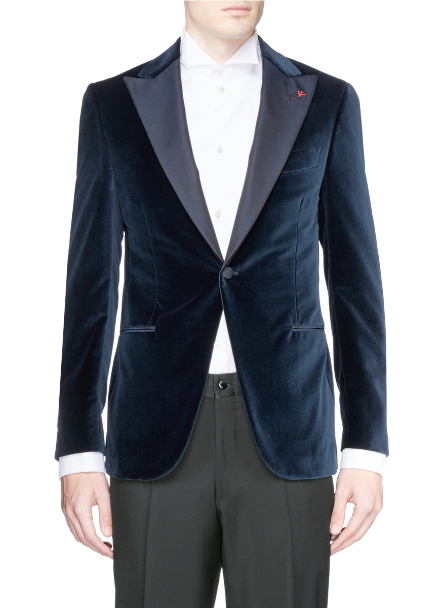Isaia Gregory Velvet Tuxedo Blazer In Blue For Men Lyst