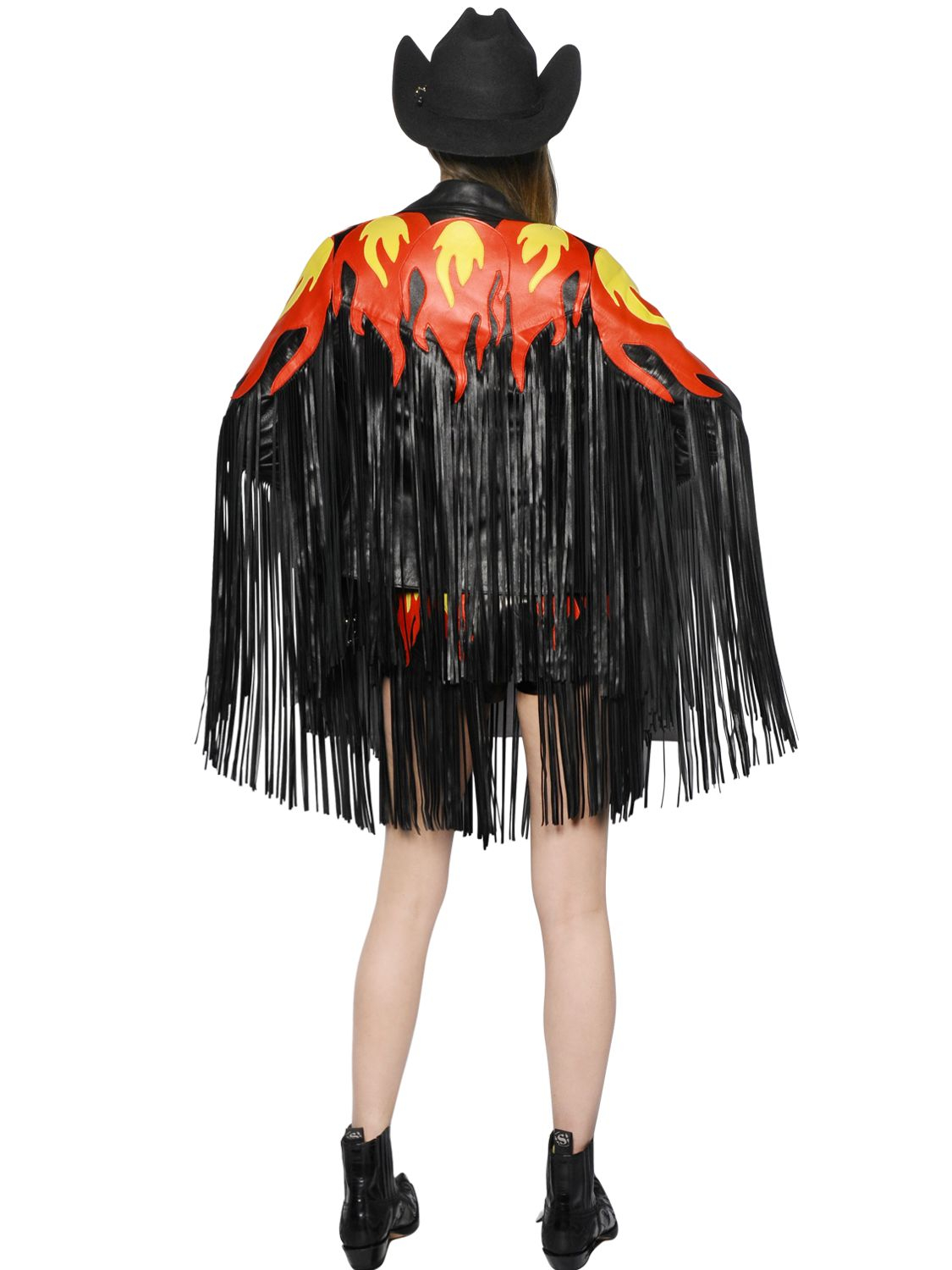 Leather jacket patches - Maria Escot Fire Patches Fringed Leather Moto Jacket In Black Lyst
