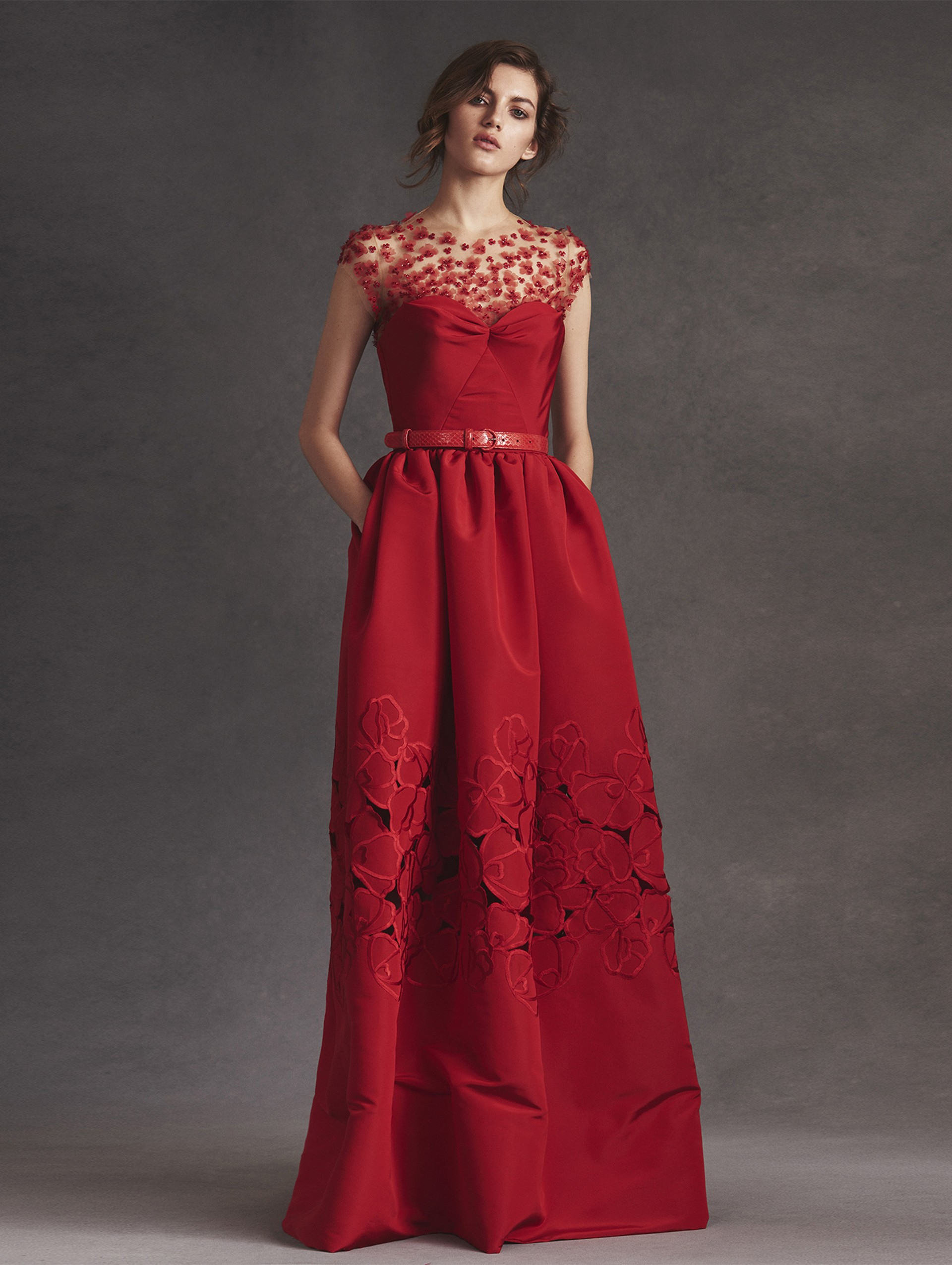 lyst oscar de la renta embroidered d colletage floral cutout silk faille gown in red. Black Bedroom Furniture Sets. Home Design Ideas