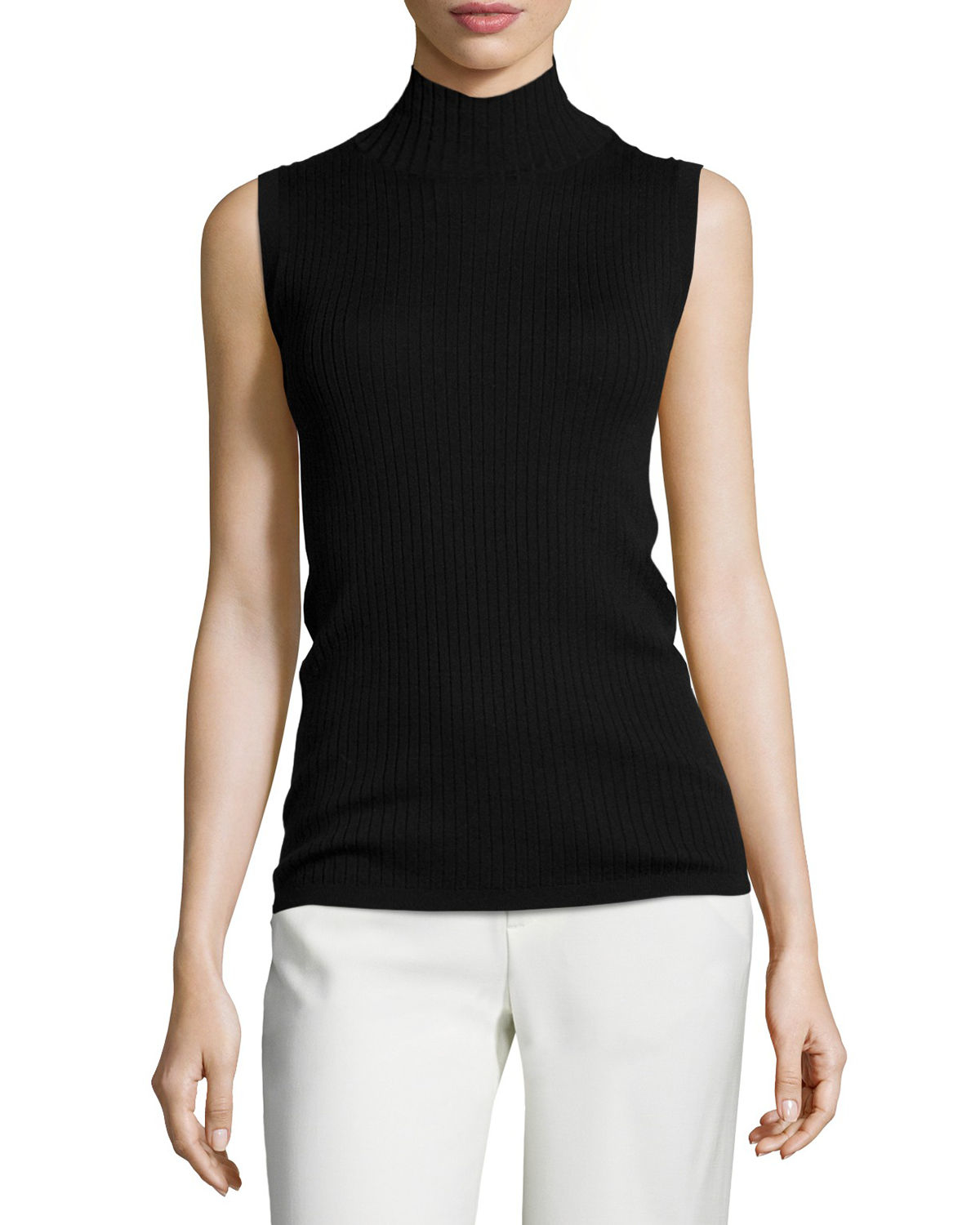 Vince Ribbed Turtleneck Sleeveless Top In Black Lyst