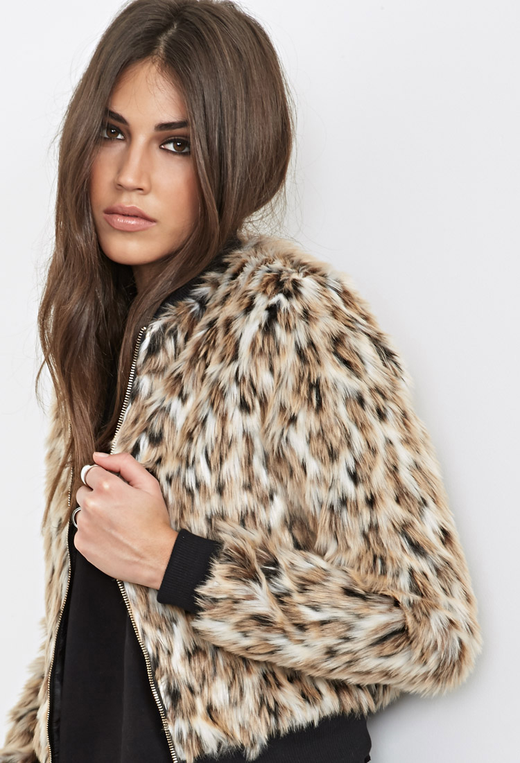 1f546fa96 Forever 21 Black Luxe Faux Leopard Fur Bomber