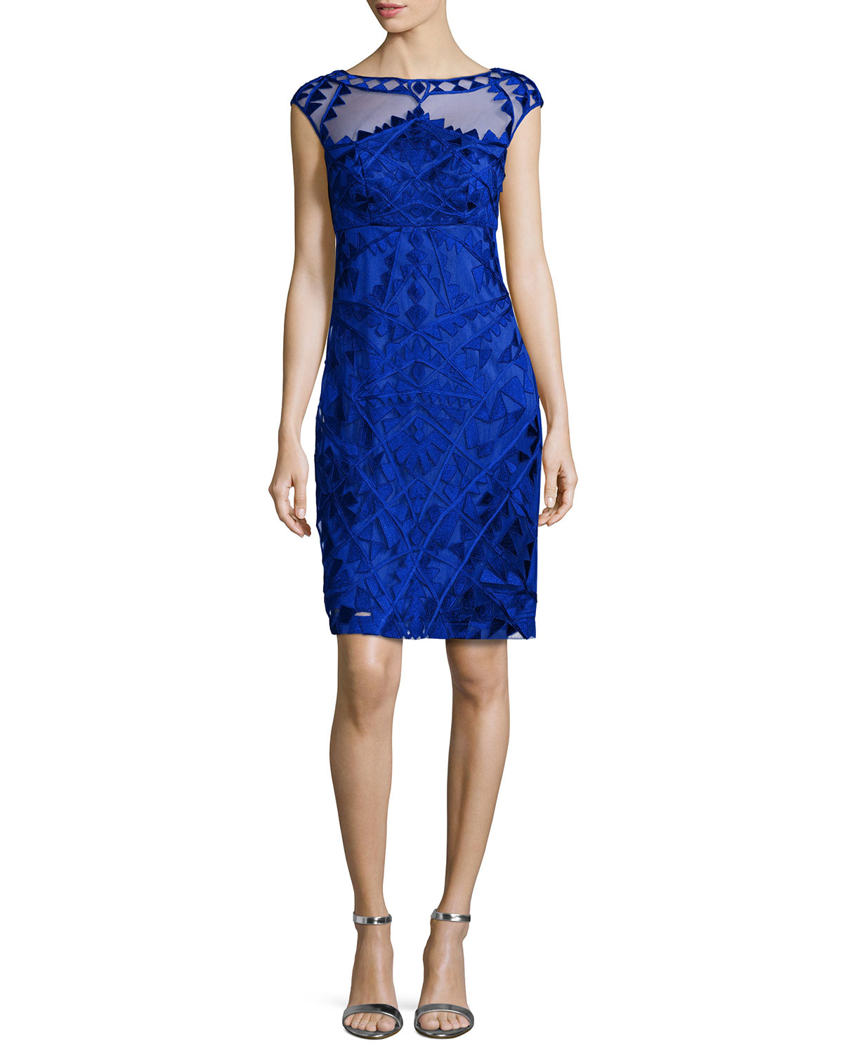 lyst sue wong embroidered cocktail dress in blue