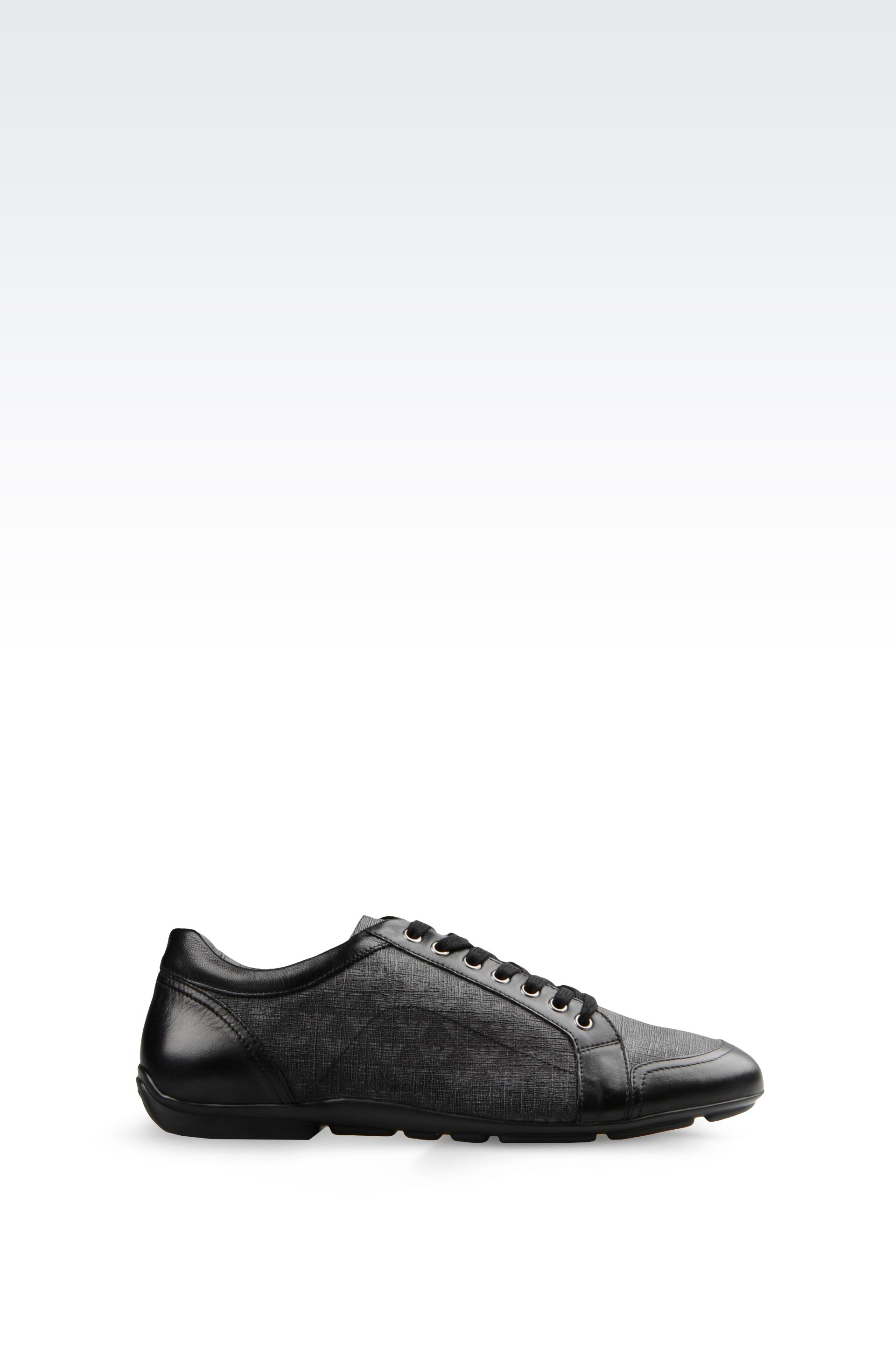 90ce2268d Emporio Armani Sneaker In Napa Leather And Logo Patterned Pvc in ...