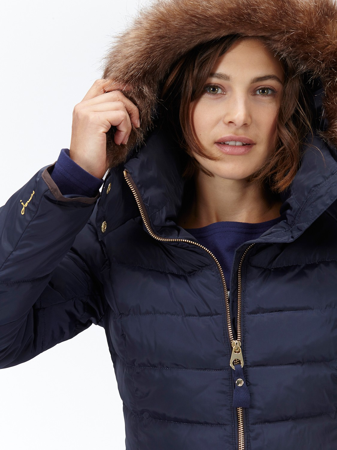 Joules Cossington Contrast Hem Jacket In Blue Lyst