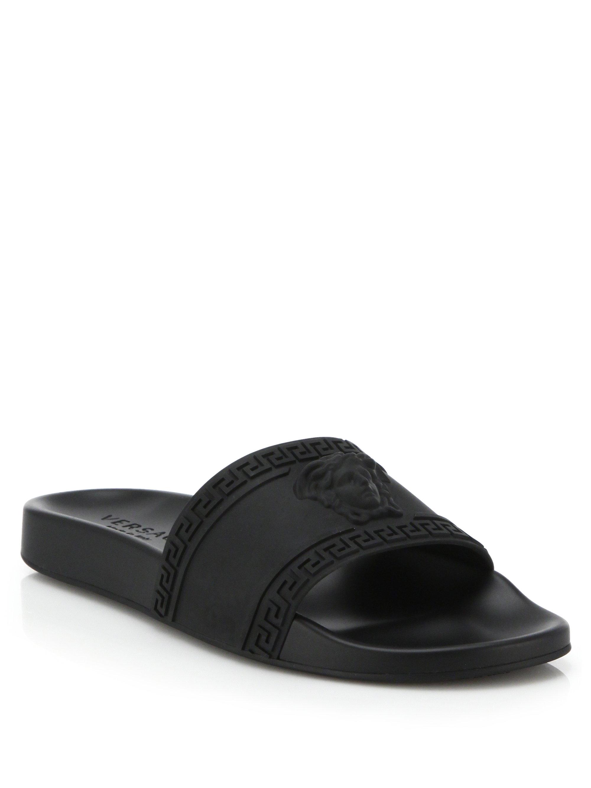 Versace Medusa Cardinal Slide Sandals in Black for Men | Lyst