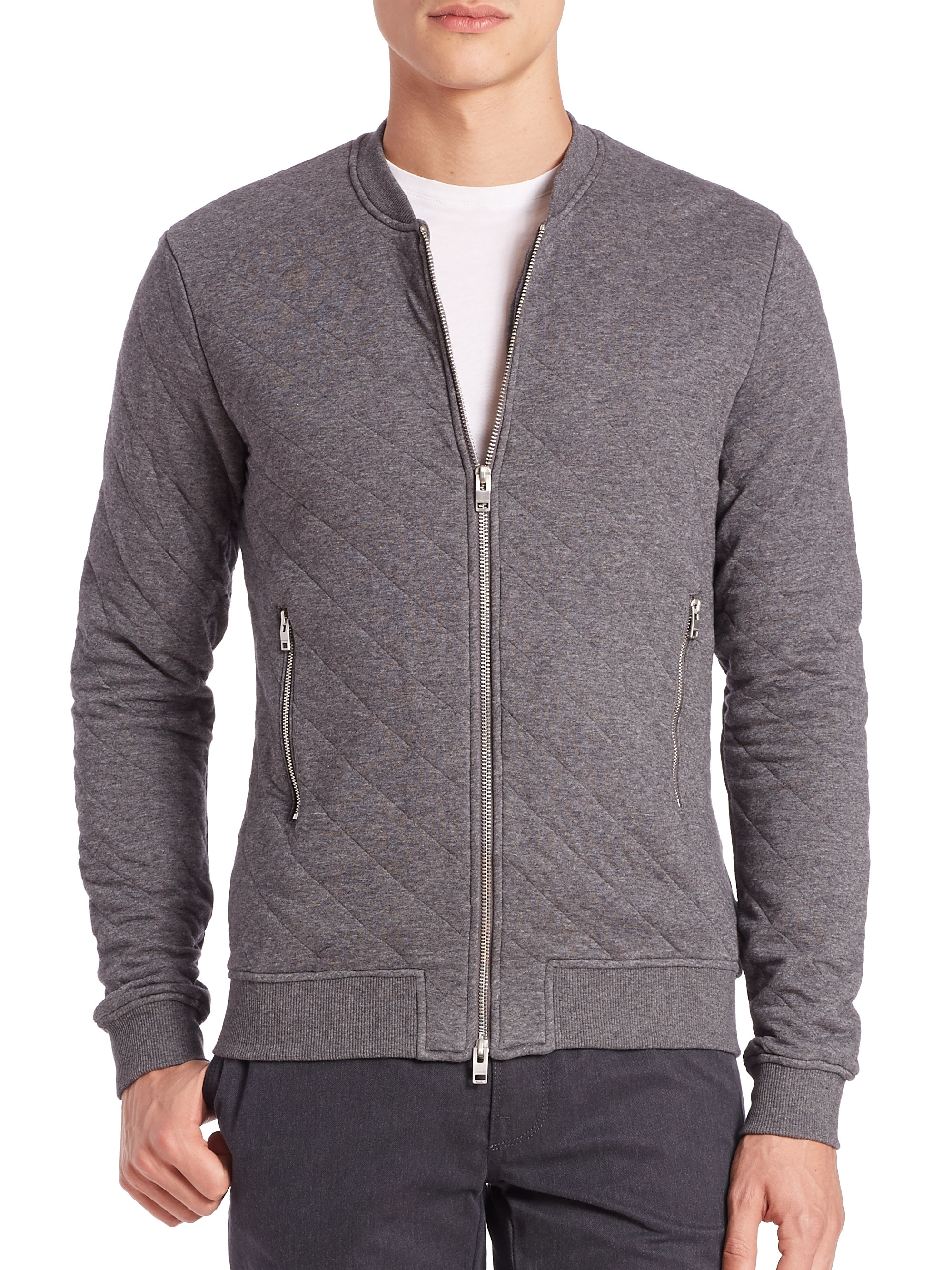 J.lindeberg Randall Quilted Zip Sweater in Gray for Men | Lyst
