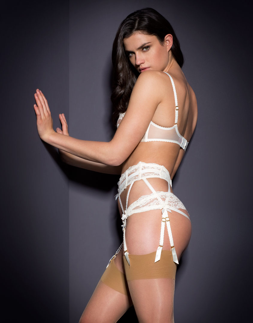 ba5fc73f47 Lyst - Agent Provocateur Lacy Suspender Ivory in White