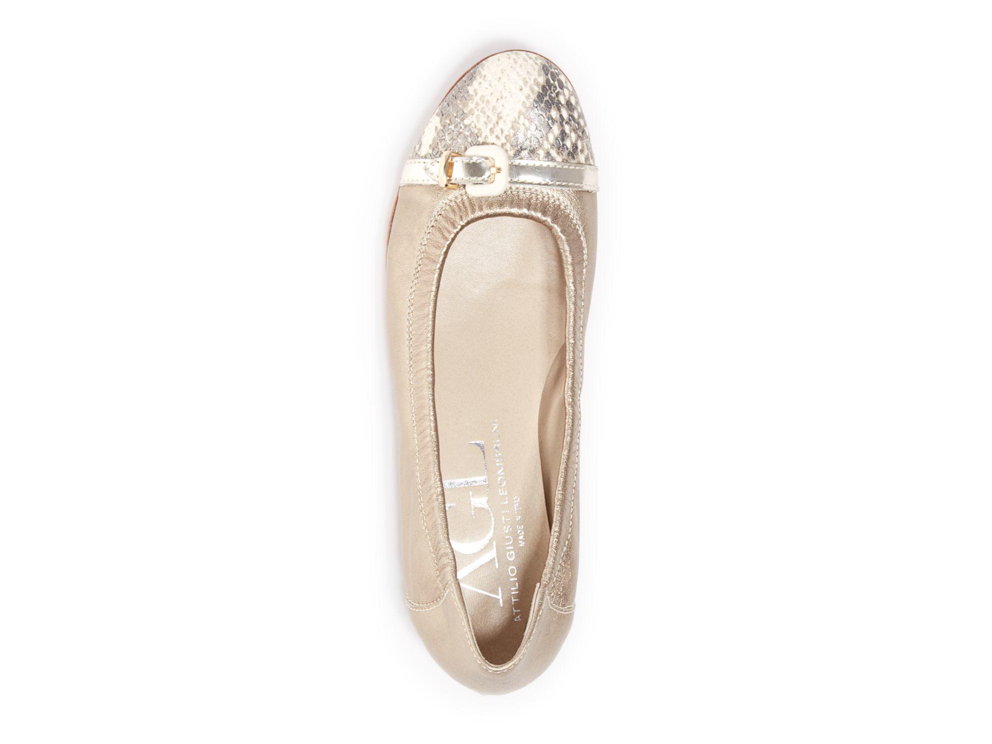 e63ecc382431a Agl Attilio Giusti Leombruni Ballet Flats - Cap Toe Metallic in ...