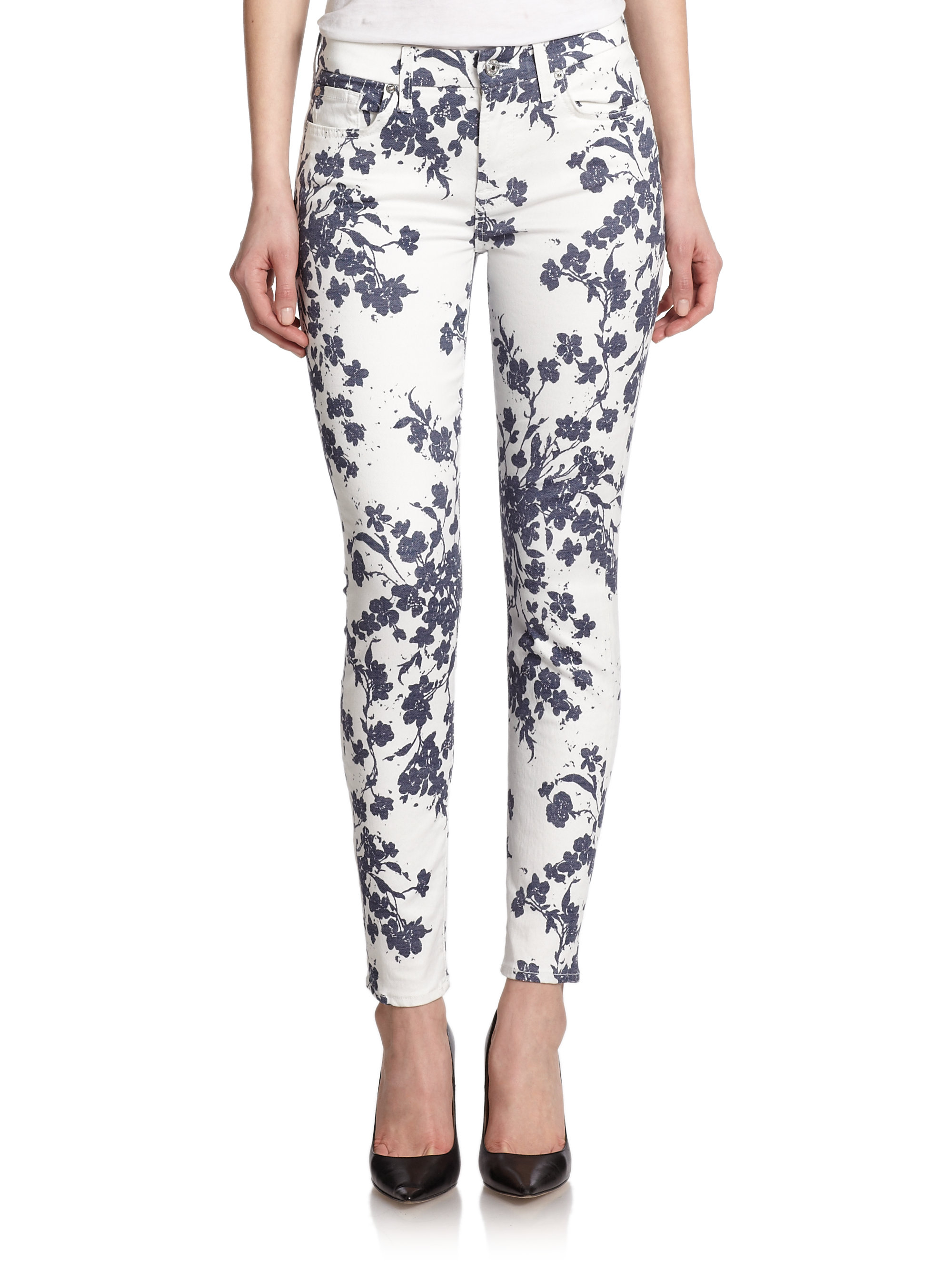 For All Mankind Floral Print Ankle Skinny Jeans In Blue Lyst