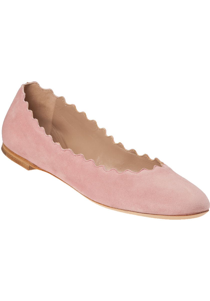 Chloé Scalloped Suede Ballet Flats in