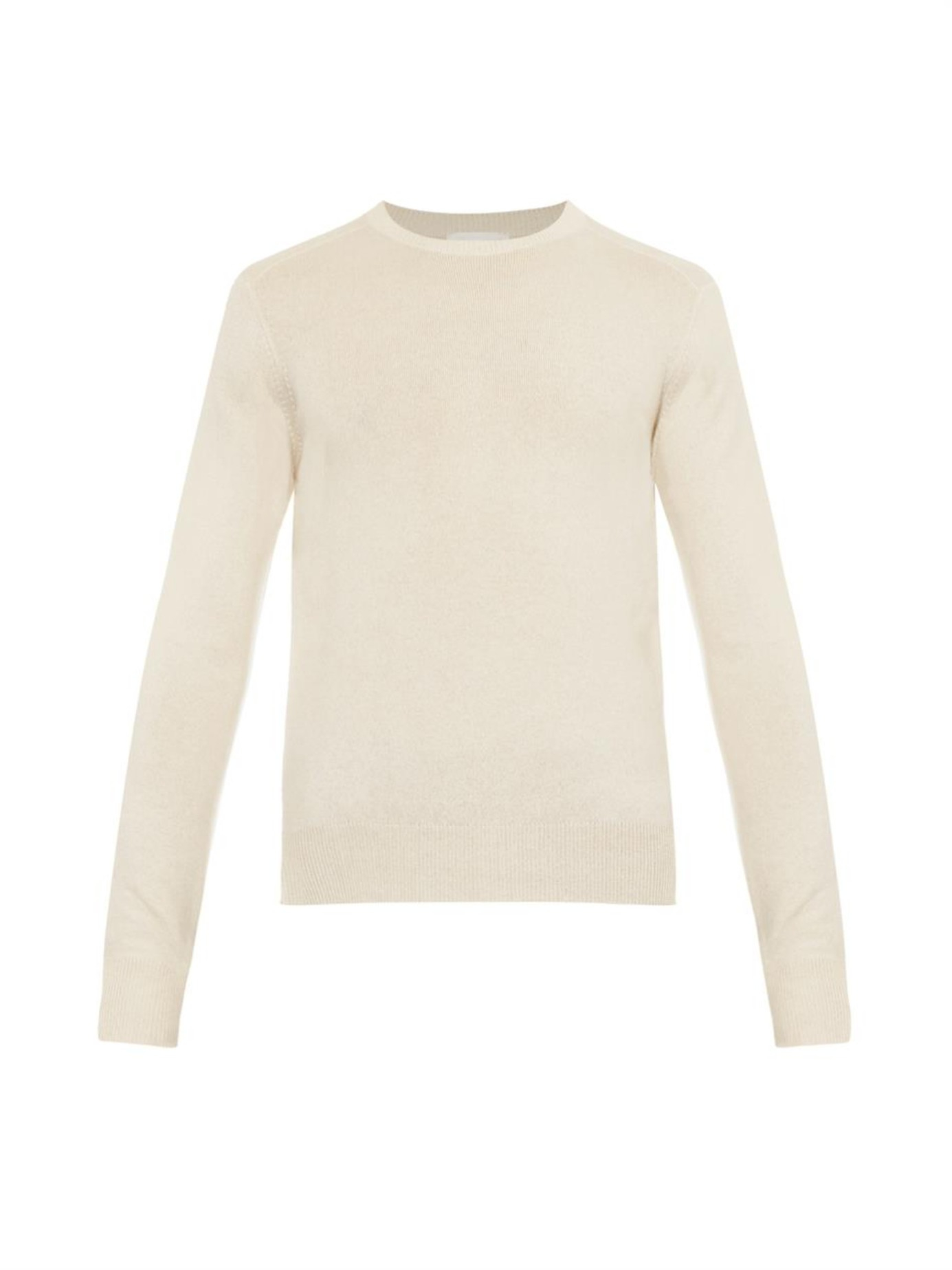 Raey Classic Crew-Neck Cashmere Sweater in White for Men | Lyst