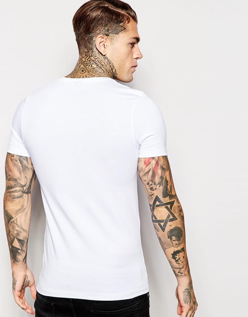 5b2a26cdfc Lyst - ASOS Extreme Fitted Fit T-shirt With V Neck And Stretch in ...