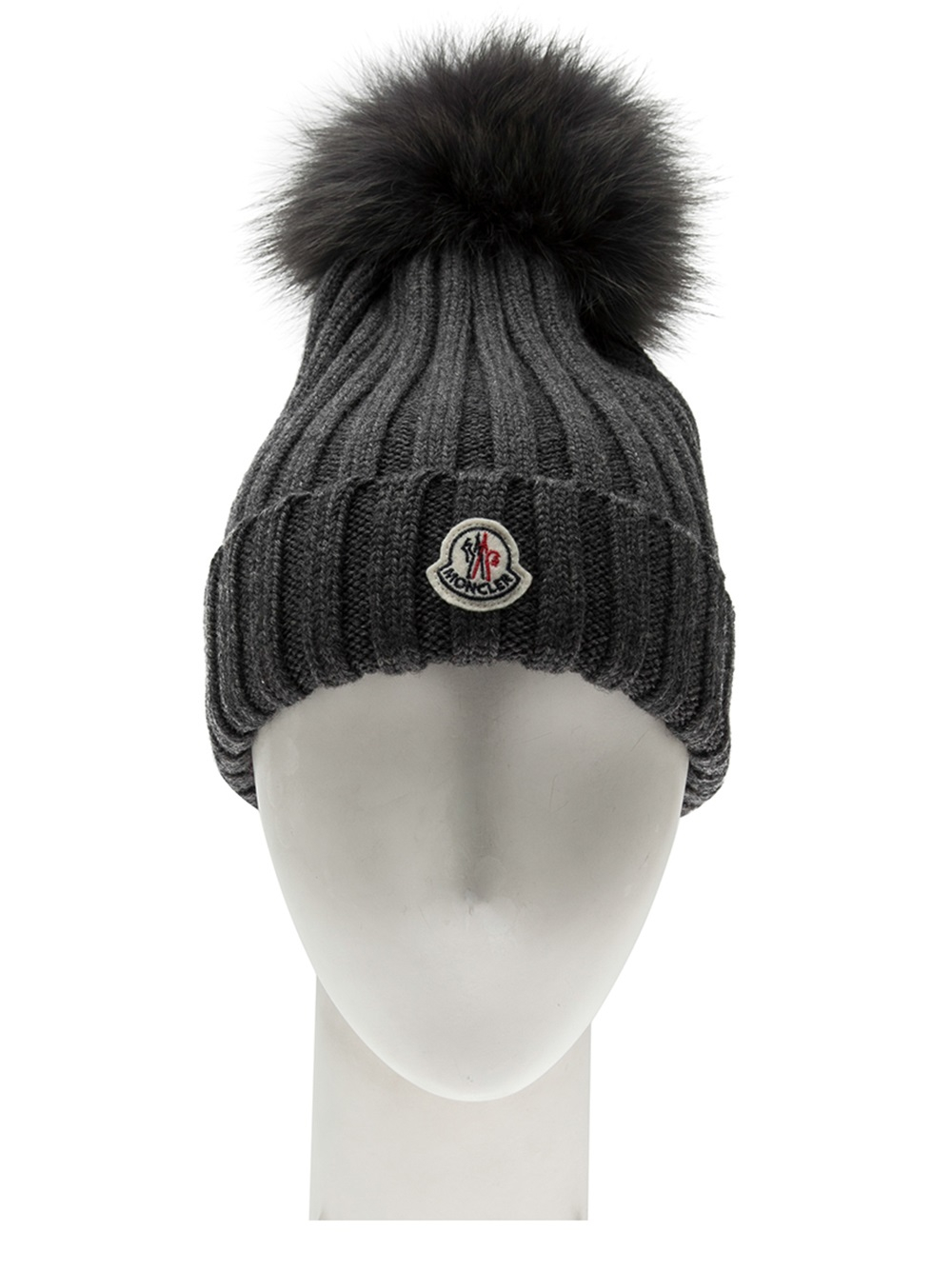 287e28a63 Lyst - Moncler Cap with Fur Pom Pom in Gray