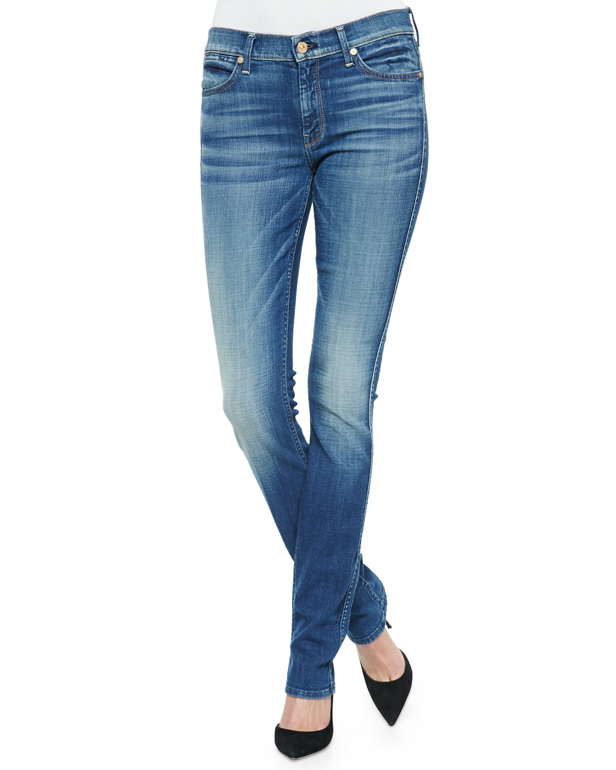 lyst 7 for all mankind the modern straight leg jeans in blue. Black Bedroom Furniture Sets. Home Design Ideas