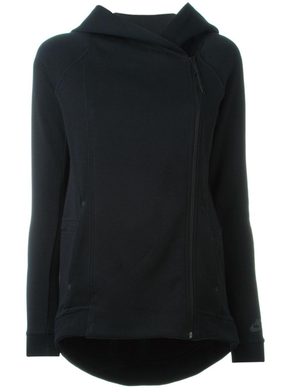 nike 39 tech fleece cape 39 jacket in black lyst. Black Bedroom Furniture Sets. Home Design Ideas
