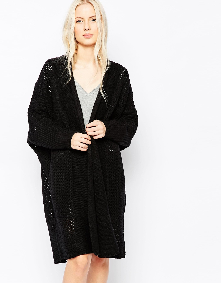 Shae Oona Long Line Ribbed Cardigan in Black | Lyst