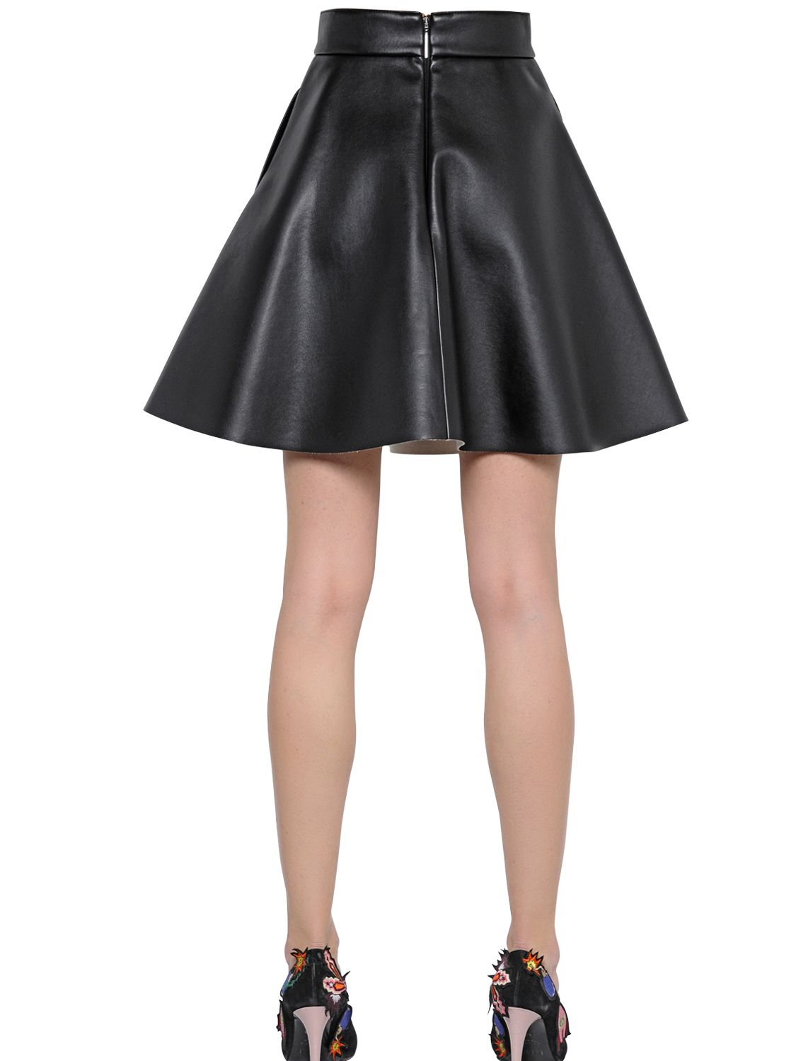 msgm flared faux leather skirt in black lyst