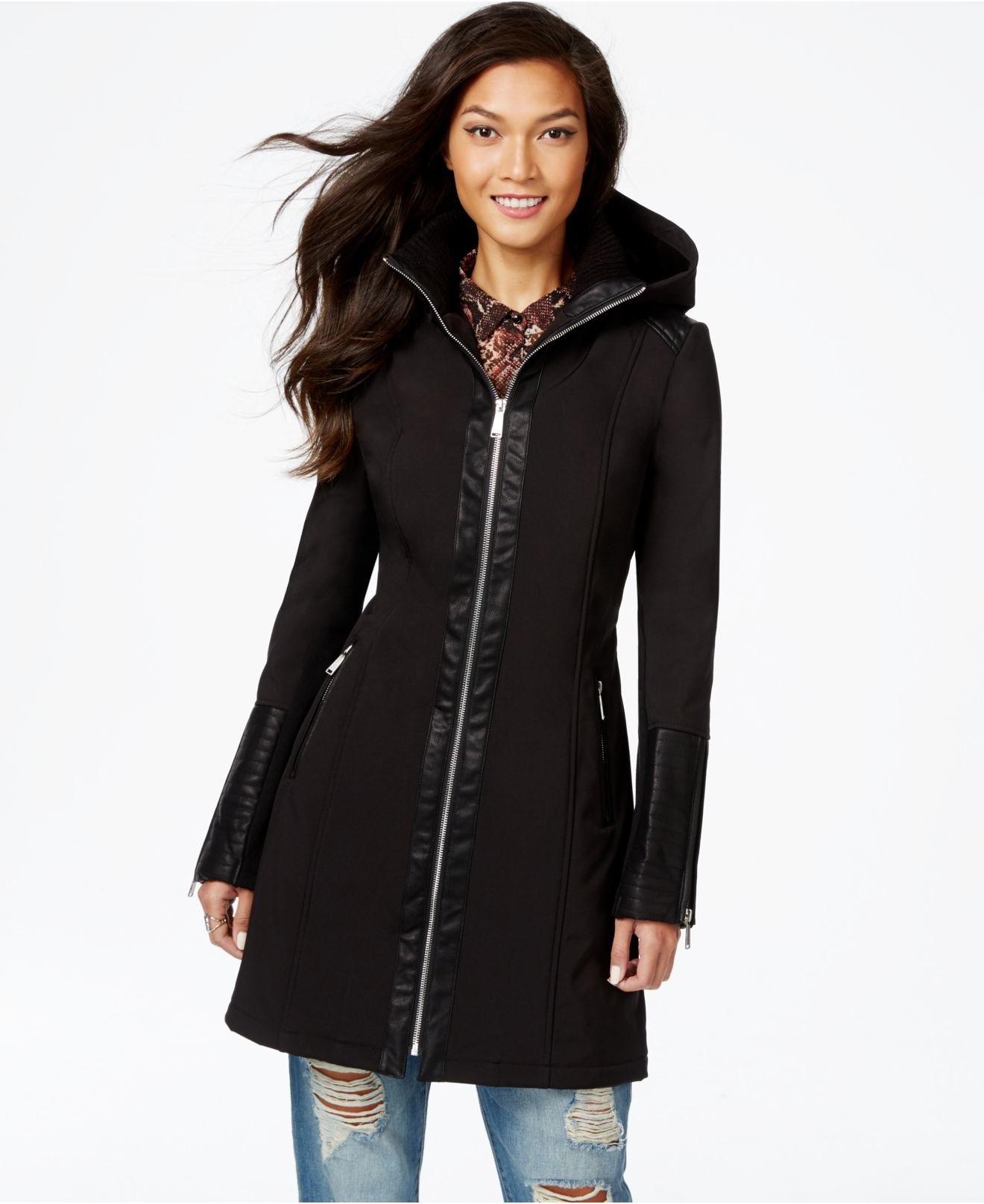 Bcbgeneration Faux-leather-trim Walker Coat in Black | Lyst