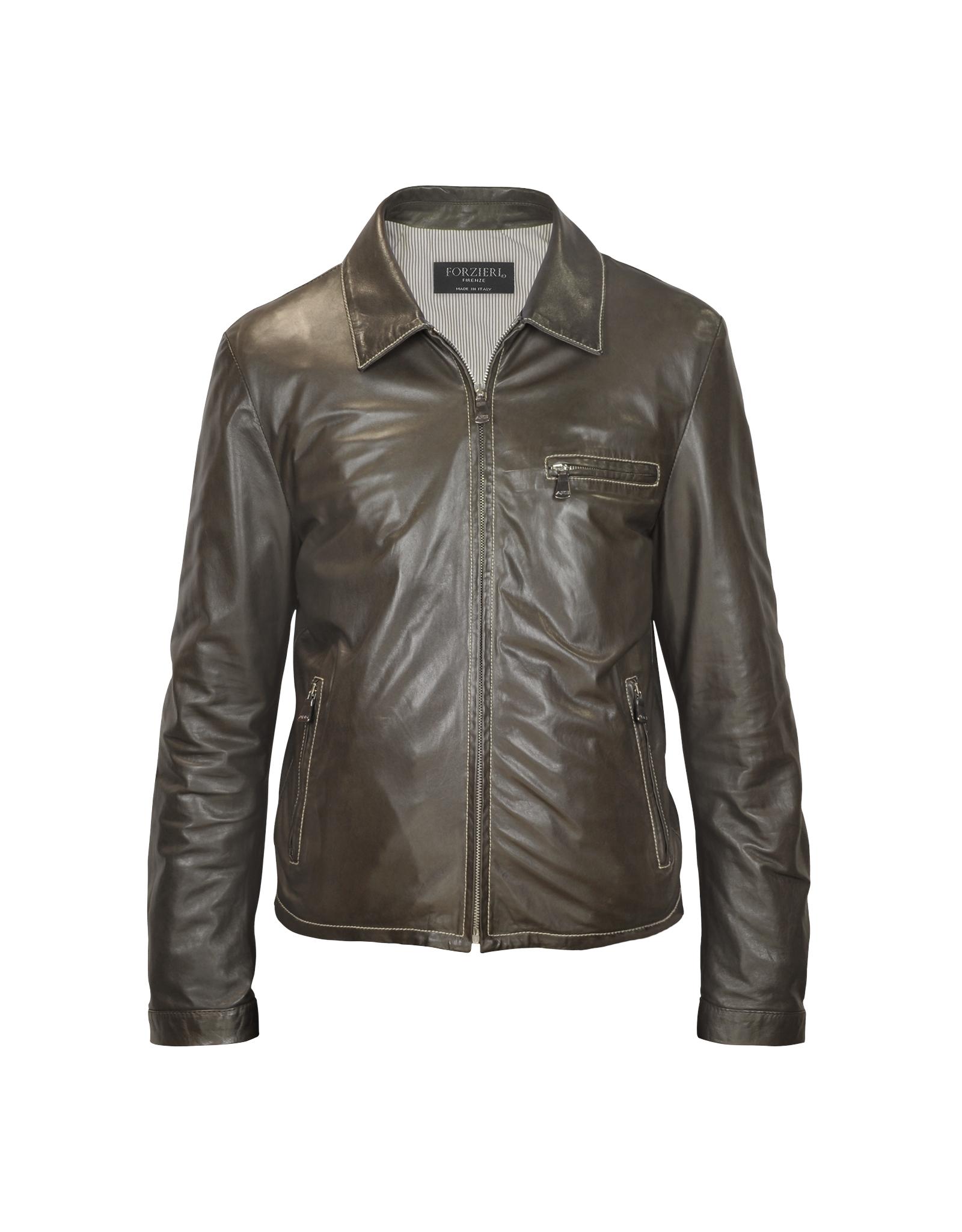 Dark brown leather jacket men
