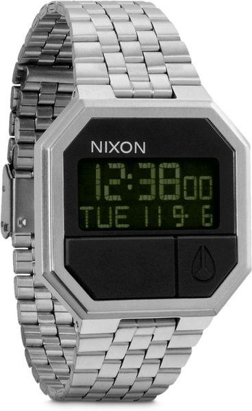 nixon rerun digital in silver for lyst