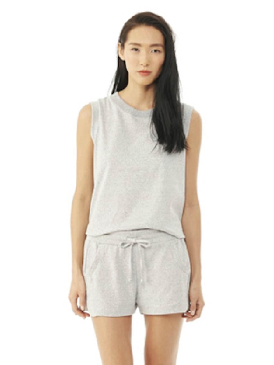 alternative apparel mock twist crop top in silver eco
