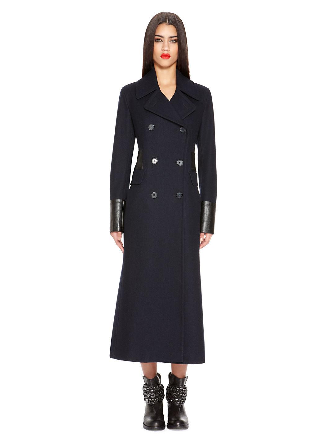Dkny Wool Maxi Coat in Blue | Lyst