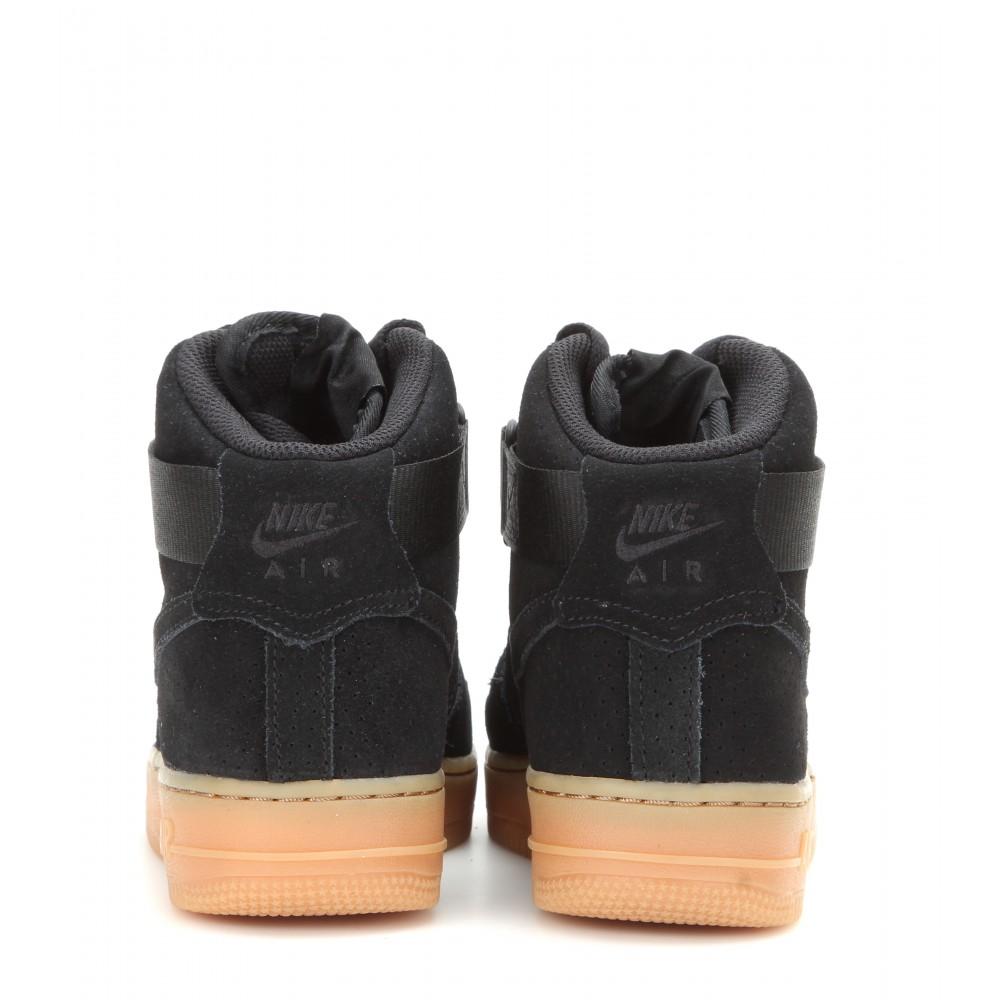 Nike Air Force 1 Suede High Top Sneakers In Black Lyst