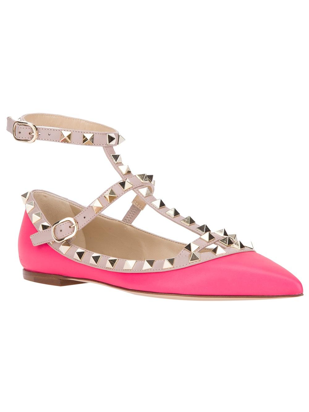 Valentino Pink Valentino Garavani Rockstud Ballerina Flats obDGMt