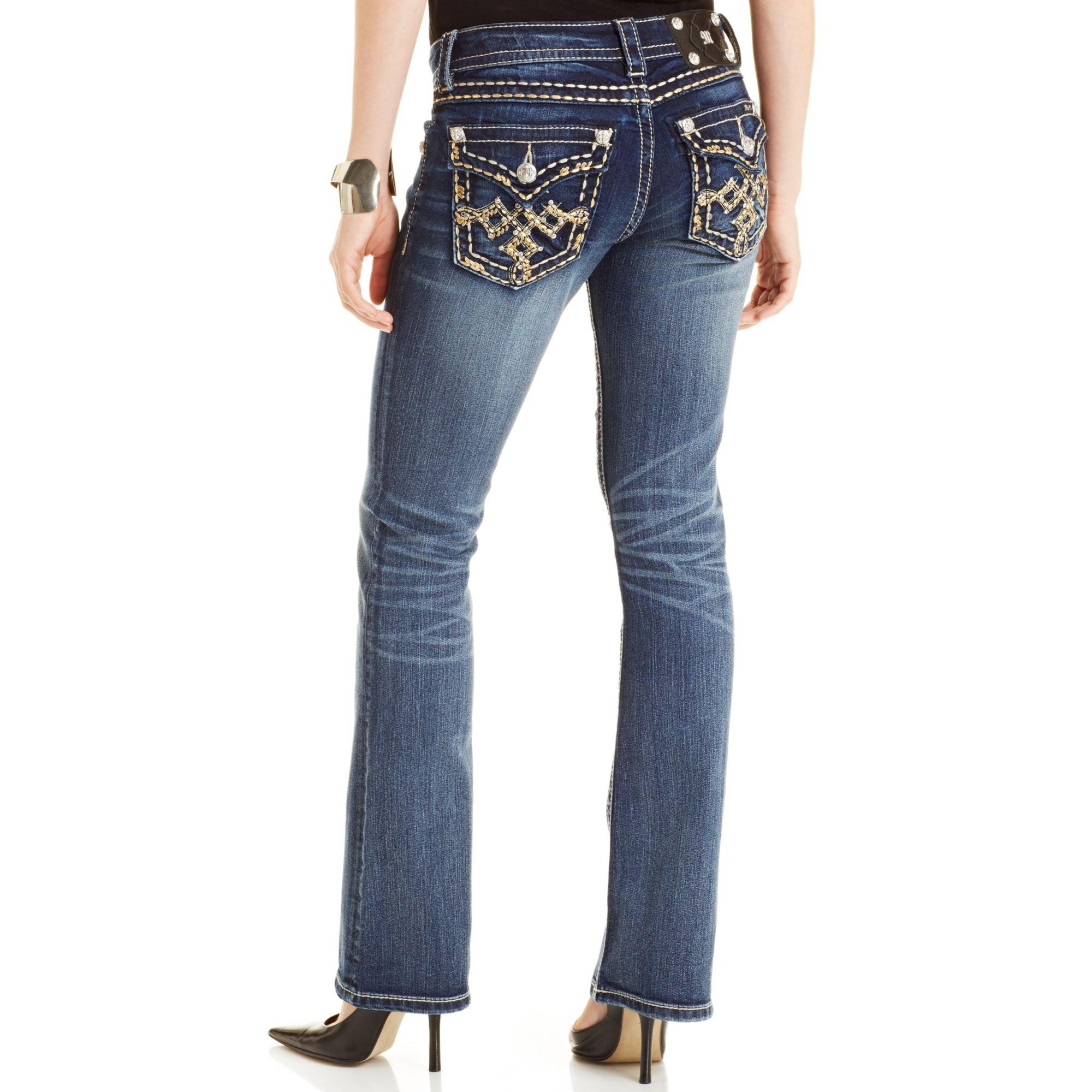 miss me embellished bootcut jeans in blue medium blue lyst. Black Bedroom Furniture Sets. Home Design Ideas