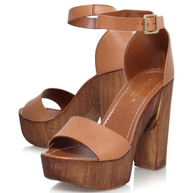 129b372bb7f Carvela Kurt Geiger Kara Leather Platform Block Heel Sandals in Brown - Lyst