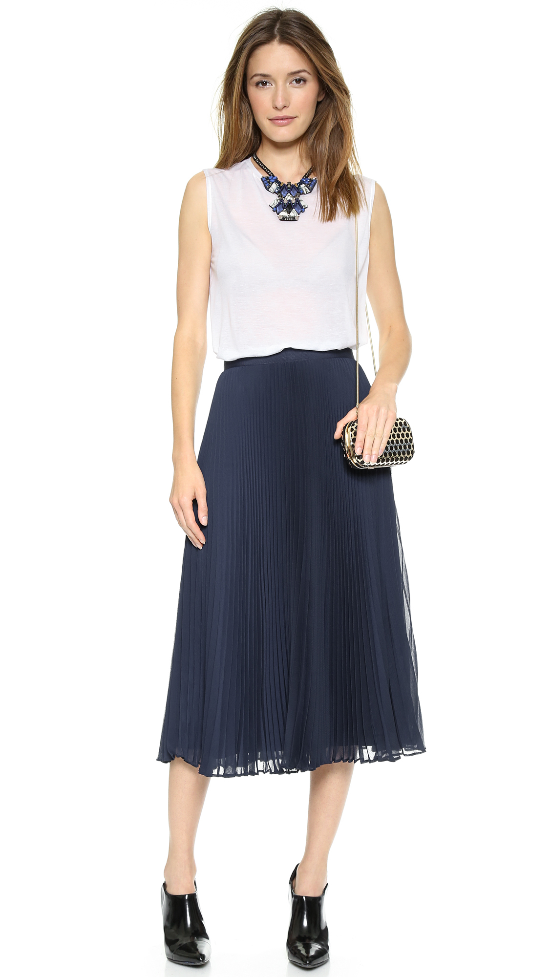 Alice   olivia Alice   Olivia Pleated Midi Skirt - Navy in Blue | Lyst