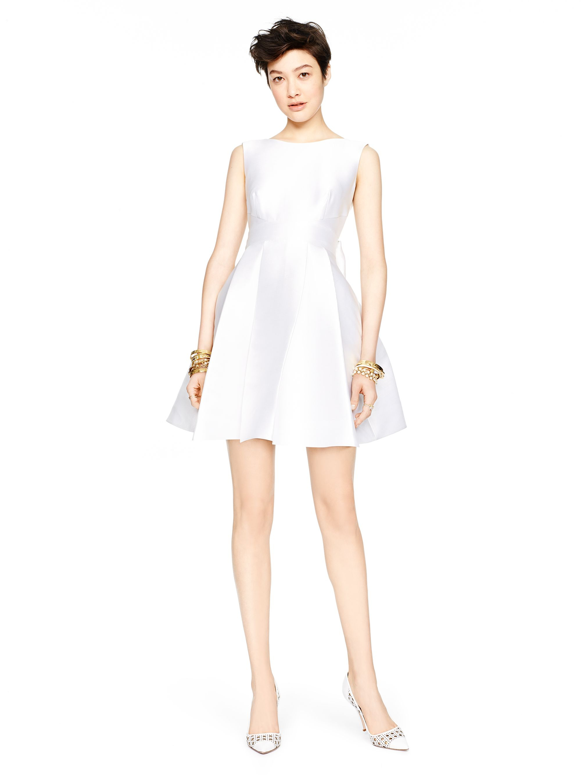 Kate Spade Open Back Silk Mini Dress In White Fresh White