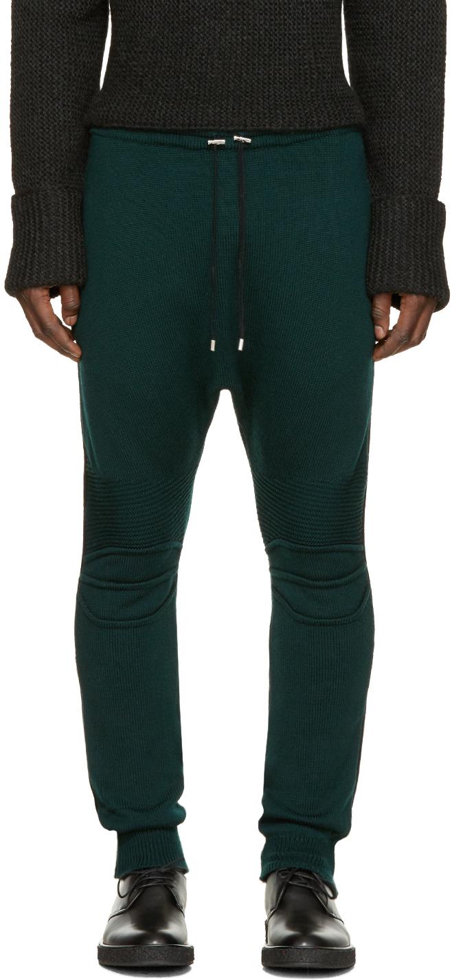 Balmain Green Knit Biker Lounge Pants in Green for Men | Lyst