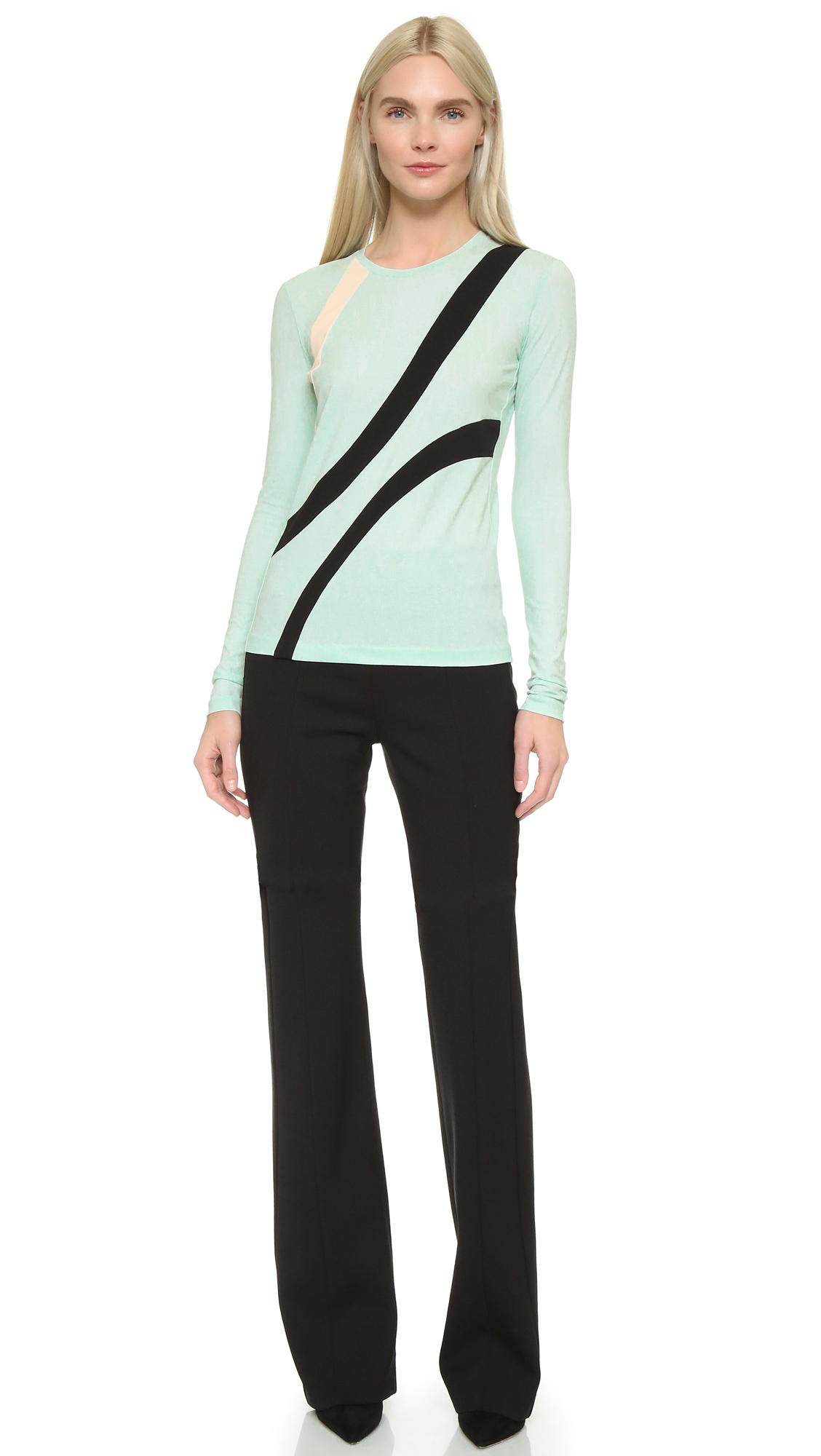 Narciso rodriguez long sleeve jersey top in green lyst for Adam lippes women s long sleeve vee t shirt