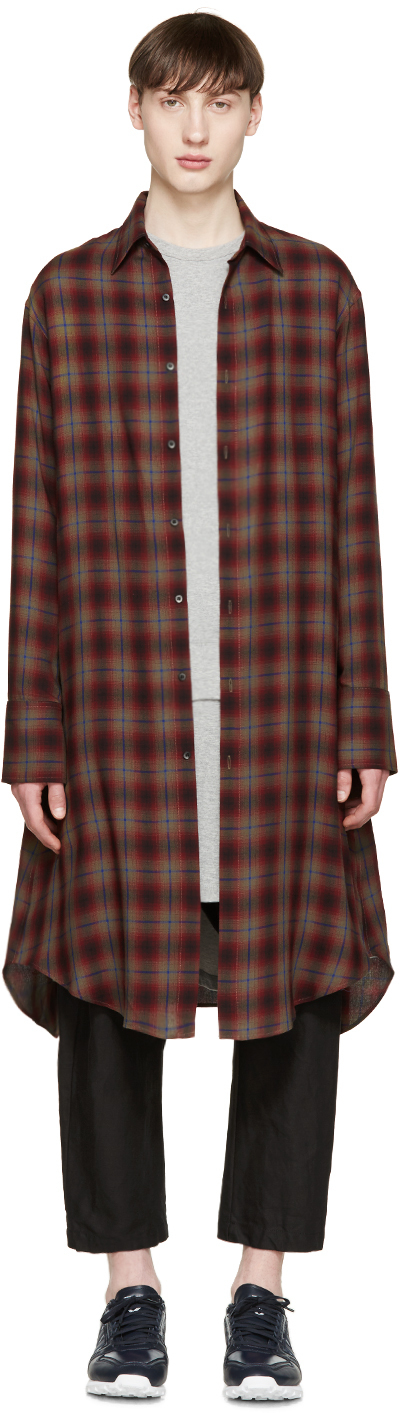 Lad musician red green long check shirt in red for men for Red and green checked shirt