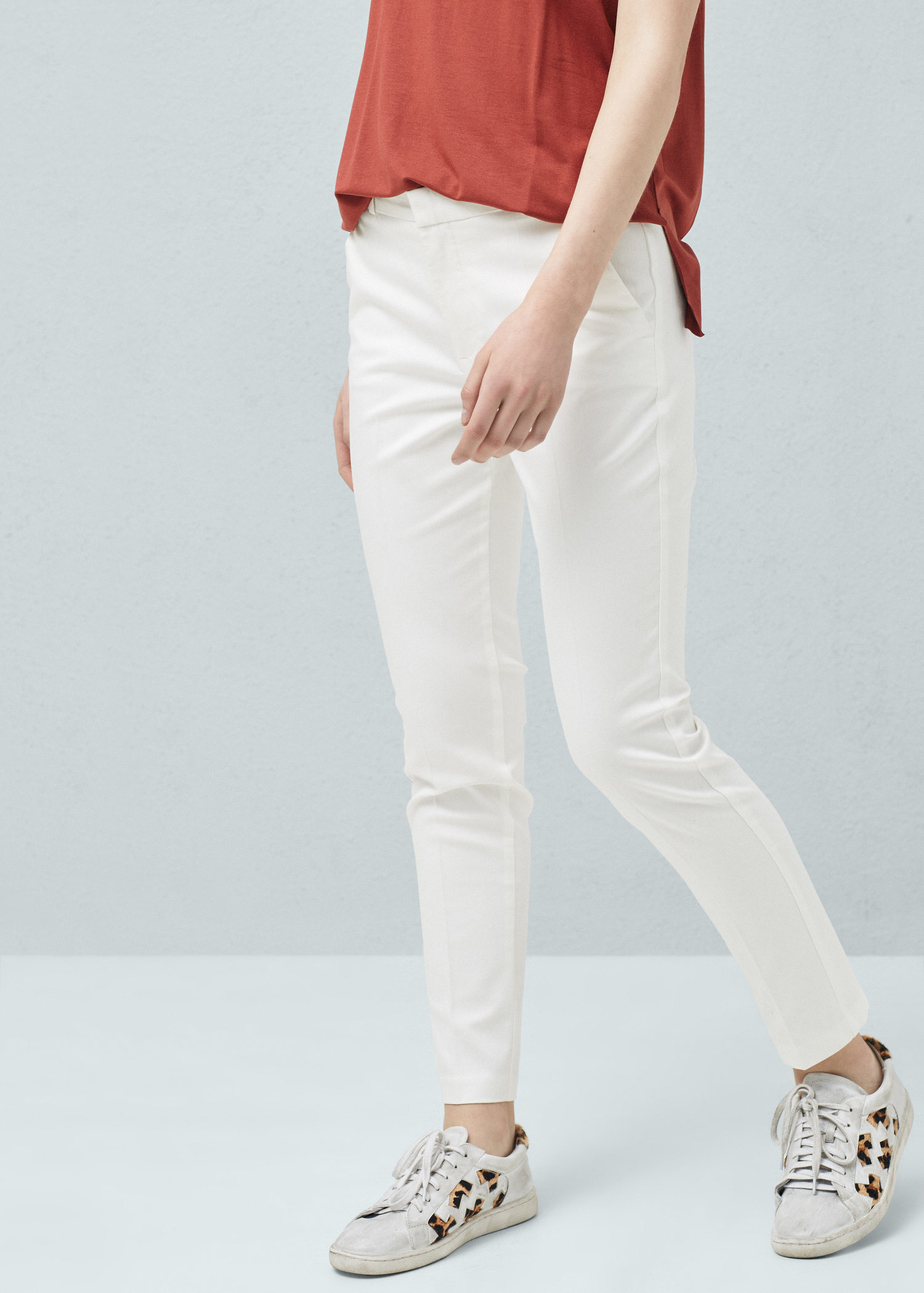 Mango Straight Cotton Trousers in White | Lyst