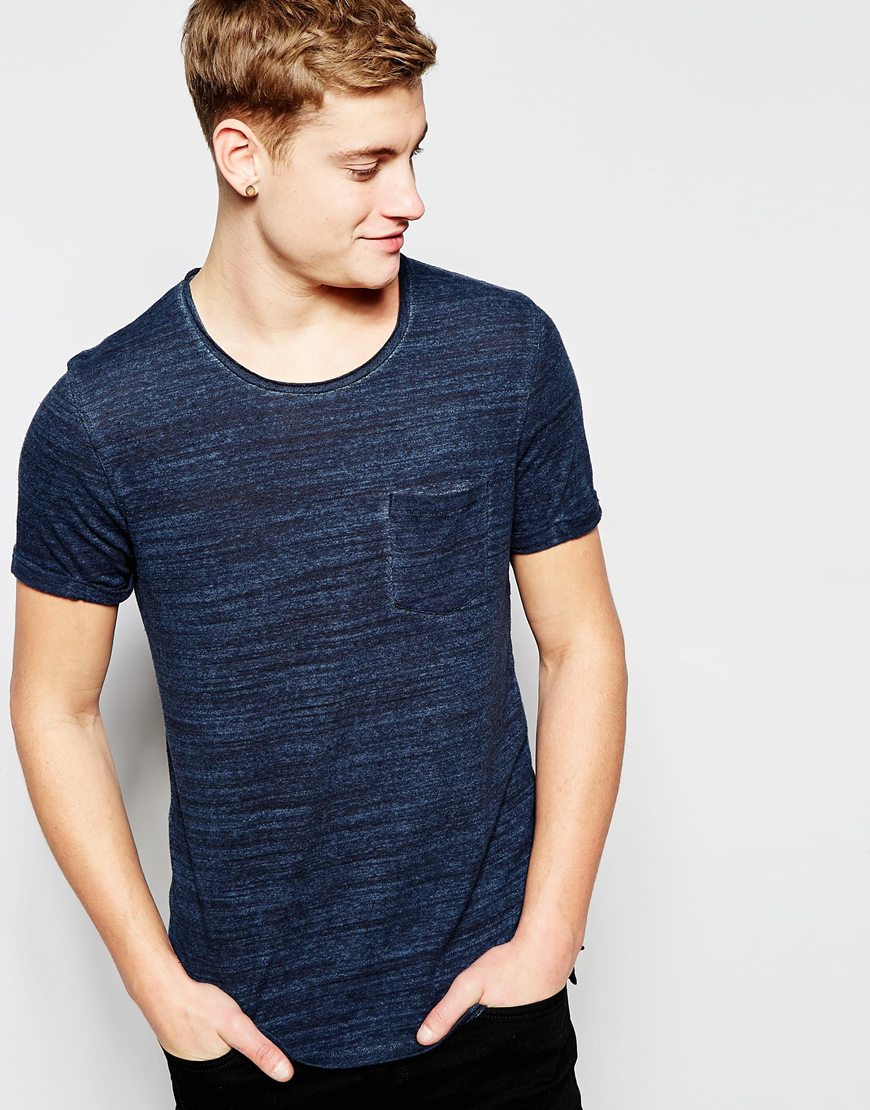 jack jones premium knitted t shirt with raw edge in blue for men. Black Bedroom Furniture Sets. Home Design Ideas