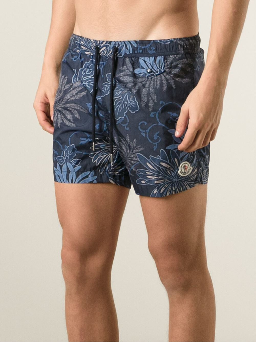 cb5f45d5e Moncler Floral Print Swimming Shorts in Blue for Men - Lyst