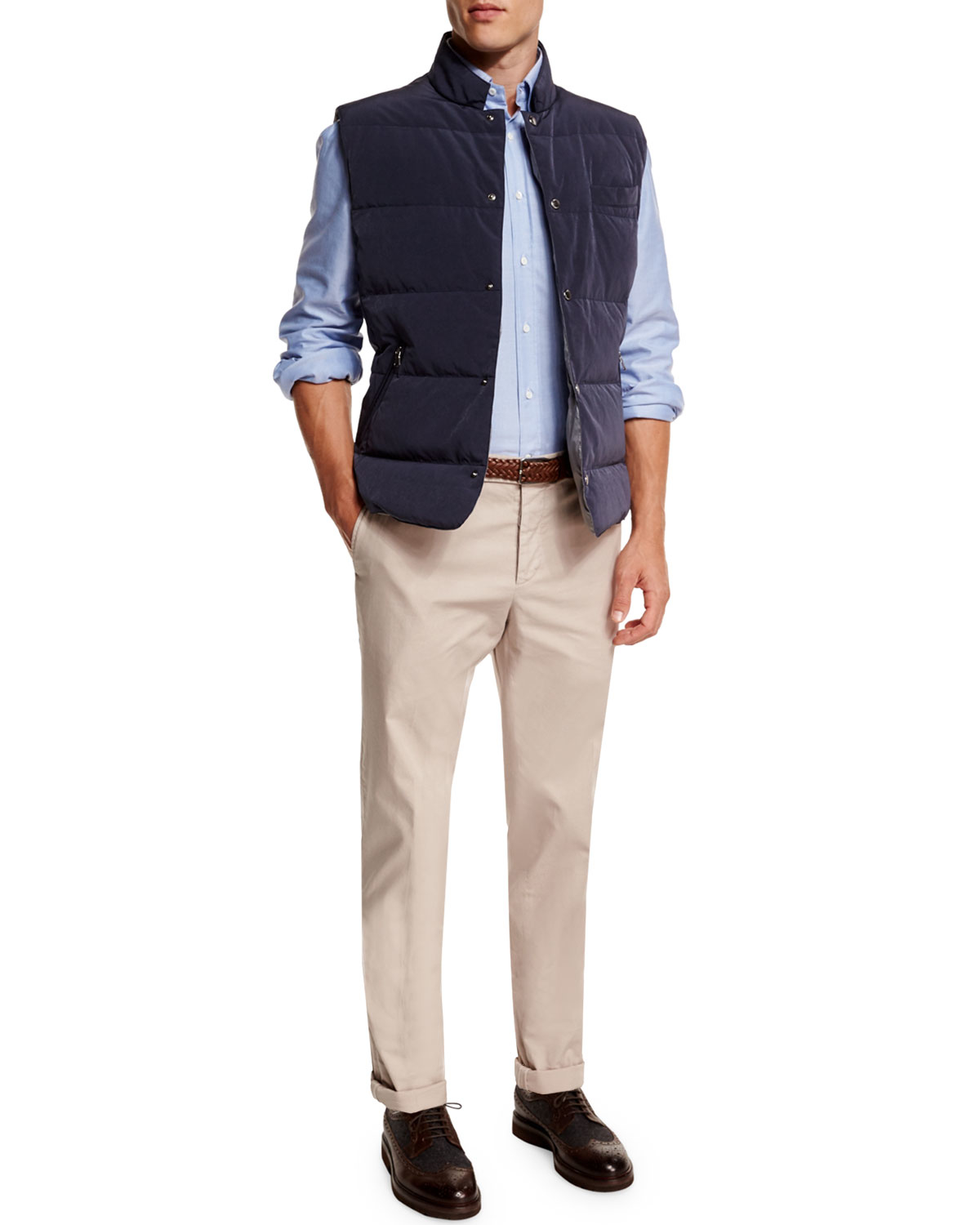 Lyst Brunello Cucinelli Quilted Snap Button Vest In Blue